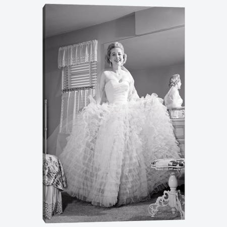 1950s 1960s Smiling Woman Looking At Camera By Bedroom Mirror Dressed In Formal Attire Ruffled Evening Gown Canvas Print #VTG784} by Vintage Images Canvas Art