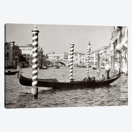1950s Anonymous Businessman Riding In Gondola Rowing Boat On The Grand Canal The Rialto Bridge In Background Venice Italy Canvas Print #VTG785} by Vintage Images Canvas Wall Art