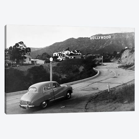 1950s Austin Car Driving Up The Hollywood Hills With Hollywood Sign In Distance Los Angeles Ca USA Canvas Print #VTG786} by Vintage Images Canvas Artwork