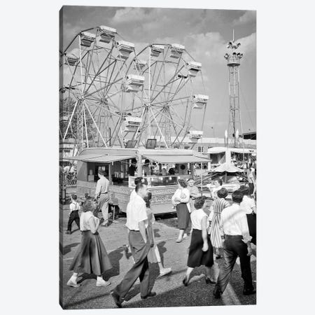 1950s Crowd Men Women Teenagers Attending Walking On The Midway Of The York County Fair Pennsylvania USA Canvas Print #VTG790} by Vintage Images Canvas Artwork