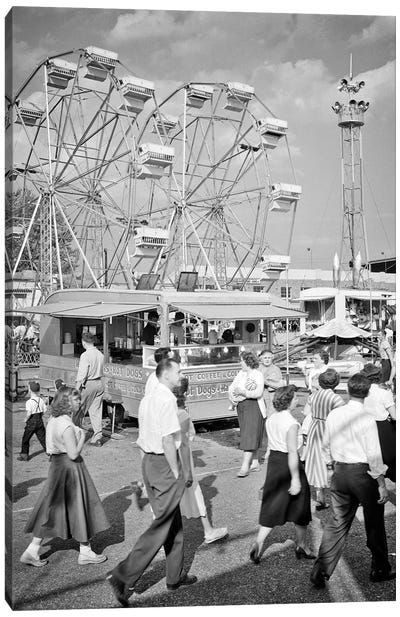 1950s Crowd Men Women Teenagers Attending Walking On The Midway Of The York County Fair Pennsylvania USA Canvas Art Print