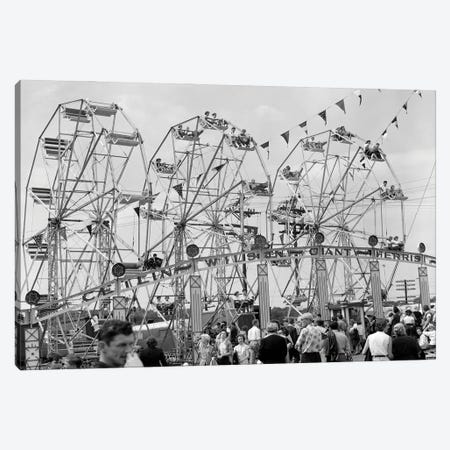 1950s Fair Scene Showing 3 Giant Ferris Wheels & Crowd Below Canvas Print #VTG791} by Vintage Images Canvas Art