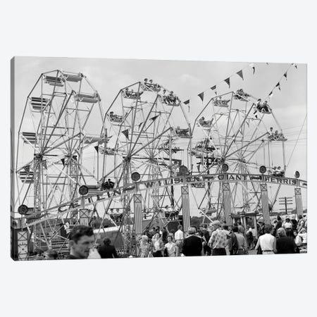 1950s Fair Scene Showing 3 Giant Ferris Wheels & Crowd Below Canvas Print #VTG791} by Vintage Images Canvas Art