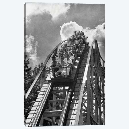 1950s Group Of Teens On Roller Coaster Coming Over And Down The Top Of Crest Outdoor Canvas Print #VTG792} by Vintage Images Canvas Wall Art