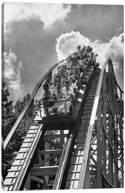 1950s Group Of Teens On Roller Coaster Coming Over And Down The Top Of Crest Outdoor Canvas Art Print