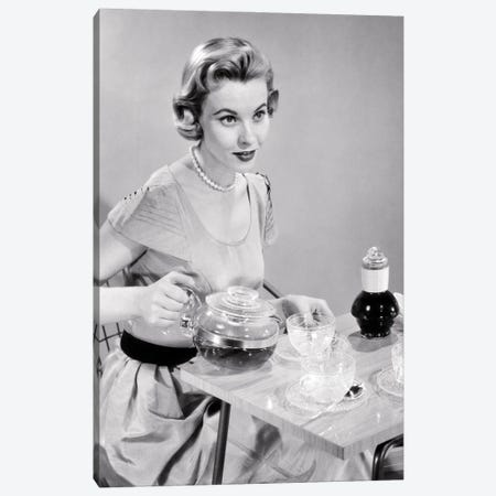 1950s Hostess Woman Housewife Serving Pouring Tea Coffee Seated At Table Canvas Print #VTG793} by Vintage Images Canvas Art