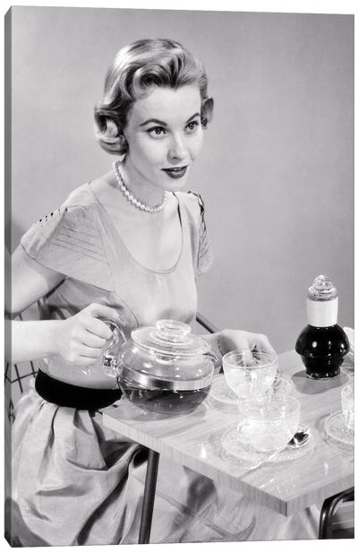 1950s Hostess Woman Housewife Serving Pouring Tea Coffee Seated At Table Canvas Art Print