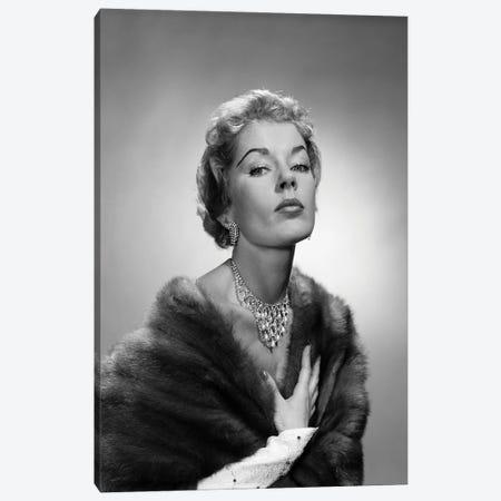 1950s Portrait Of Glamorous Woman Wearing Fur Stole Elegant Necklace Earrings Canvas Print #VTG795} by Vintage Images Canvas Art Print