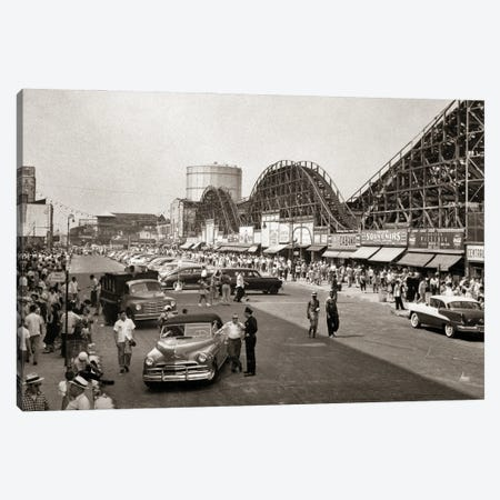1950s Roller Coaster Crowded Streets Parked Cars Coney Island Brooklyn New York USA Canvas Print #VTG799} by Vintage Images Canvas Art