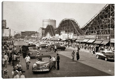 1950s Roller Coaster Crowded Streets Parked Cars Coney Island Brooklyn New York USA Canvas Art Print