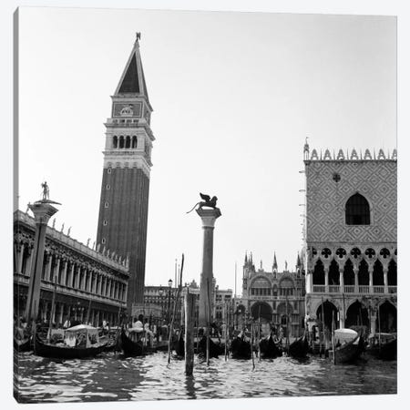 1920s-1930s Venice Italy Piazza San Marco Campanile Tower And Winged Lion Statue Canvas Print #VTG79} by Vintage Images Canvas Art Print