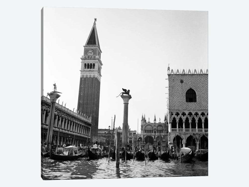 1920s-1930s Venice Italy Piazza San Marco Campanile Tower And Winged Lion Statue by Vintage Images 1-piece Canvas Art