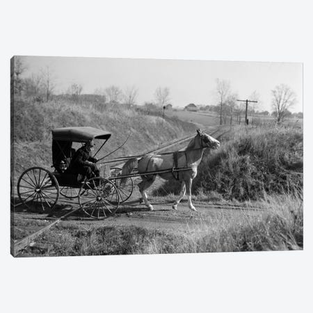 1890s-1900s Rural Country Doctor Driving Horse & Carriage Across Railroad Tracks Canvas Print #VTG7} by Vintage Images Canvas Artwork
