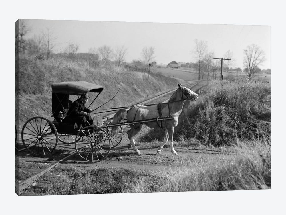 1890s-1900s Rural Country Doctor Driving Horse & Carriage Across Railroad Tracks by Vintage Images 1-piece Art Print