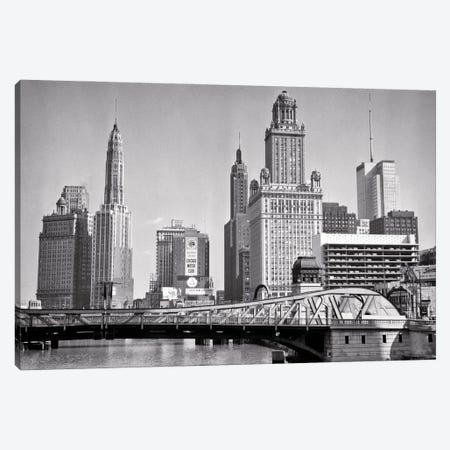 1950s Skyline Of Michigan Avenue Buildings And Chicago River Lift Bridge Chicago Illinois USA Canvas Print #VTG800} by Vintage Images Canvas Art