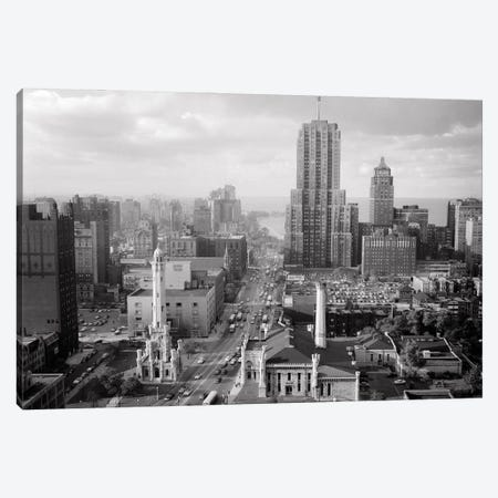 1950s Skyline View Water Tower Palmolive Building Along Michigan Avenue Chicago Illinois USA Canvas Print #VTG801} by Vintage Images Canvas Art