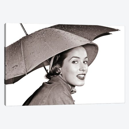 1950s Smiling Woman Looking At Camera Under An Umbrella Wearing Raincoat And Hat Canvas Print #VTG803} by Vintage Images Canvas Wall Art