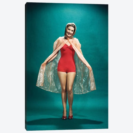 1950s Smiling Woman Pinup Wearing Red One Piece Bathing Suit Rain Cape Looking At Camera Canvas Print #VTG804} by Vintage Images Art Print
