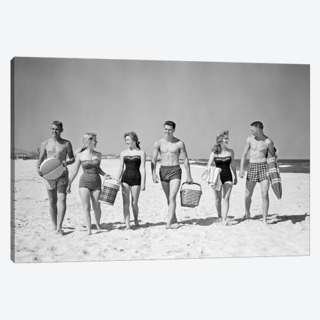 1950s Three Teenage Couples Walking On Beach Carrying Picnic Basket And Cooler Canvas Print #VTG807} by Vintage Images Art Print