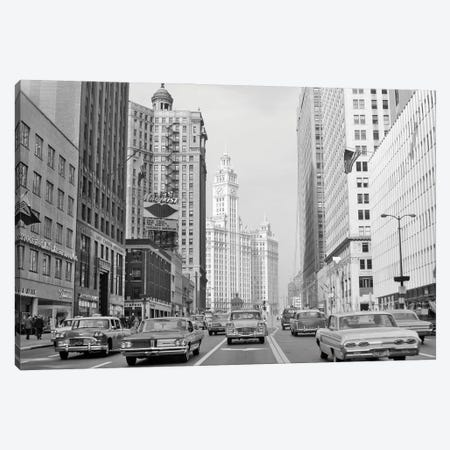1960s 1963 Chicago Il USA Michigan Avenue Traffic Wrigley Building Canvas Print #VTG809} by Vintage Images Canvas Art