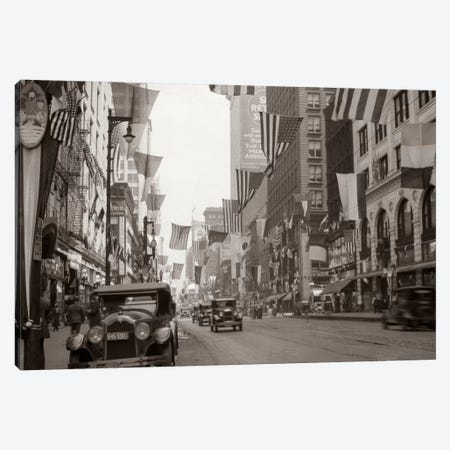 1926 Downtown Chicago State Street With American And Other National Flags Canvas Print #VTG80} by Vintage Images Canvas Wall Art