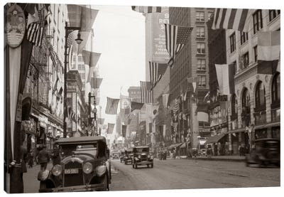 1926 Downtown Chicago State Street With American And Other National Flags Canvas Art Print