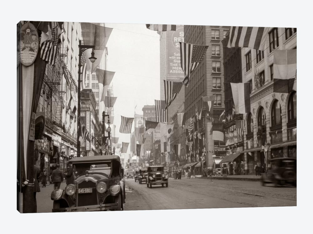 1926 Downtown Chicago State Street With American And Other National Flags by Vintage Images 1-piece Canvas Art