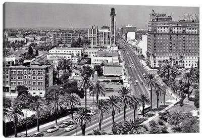 1960s Aerial Of Wilshire Boulevard Look Across Lafayette Park To Shopping District Sheraton Hotel Palm Trees Los Angeles Ca USA Canvas Art Print