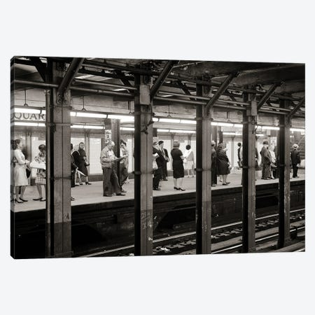 1960s Anonymous Riders Passengers Standing Waiting For Subway Train At 14Th Street Union Square Station NYC USA Canvas Print #VTG813} by Vintage Images Canvas Art Print