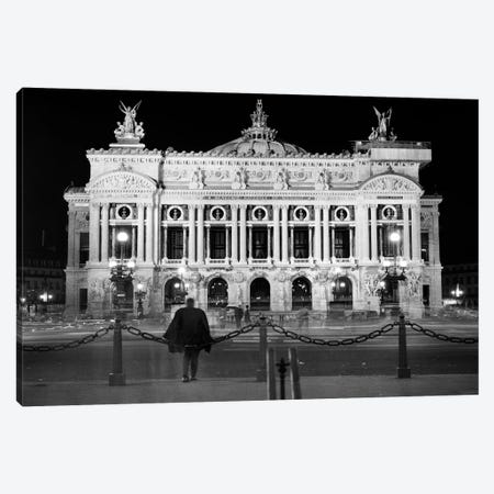 1960s Anonymous Silhouetted Man Looking At Palais Garnier Opera House At Night Paris France Canvas Print #VTG814} by Vintage Images Canvas Wall Art