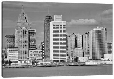 1960s Building Skyline Across The Detroit River Detroit Michigan USA Canvas Art Print