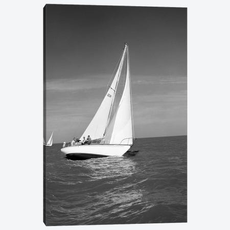 1960s Group Of Five Men Sailing On Large Sailboat Canvas Print #VTG819} by Vintage Images Canvas Print