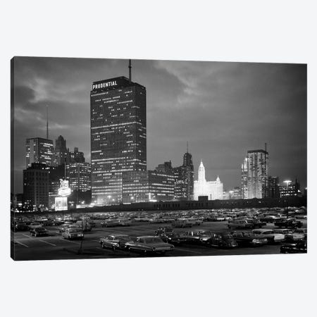 1960s Night Skyline Of Prudential Building And Brightly Lit Wrigley Building From Monroe Drive Chicago Illinois USA Canvas Print #VTG820} by Vintage Images Canvas Wall Art