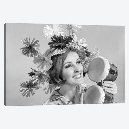 1960s Smiling Woman Wearing Goofy Straw Hat Playing Bongo Drums Canvas Print #VTG823} by Vintage Images Canvas Art