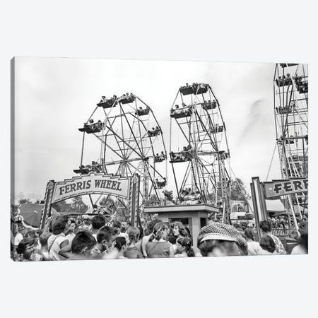1960s Teens Lined Up At Ticket Both To Ride On One Of Three Ferris Wheels At County Fair Canvas Print #VTG824} by Vintage Images Art Print