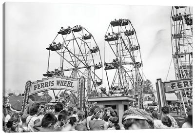 1960s Teens Lined Up At Ticket Both To Ride On One Of Three Ferris Wheels At County Fair Canvas Art Print