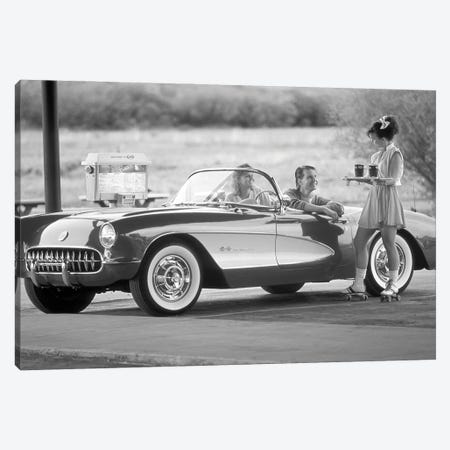 1980s 1990s Carhop On Roller Skates Serving Drinks To Couple In Old Corvette Convertible At 1950s Style Drive-In Restaurant Canvas Print #VTG826} by Vintage Images Art Print