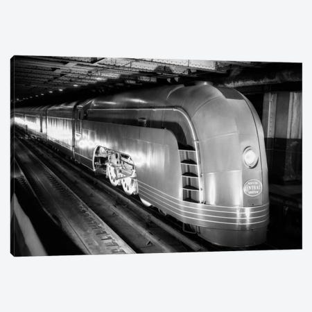 1930s Angled View Of New York Central Railroad Streamlined Mercury Passenger Train Steam Engine Canvas Print #VTG82} by Vintage Images Canvas Artwork