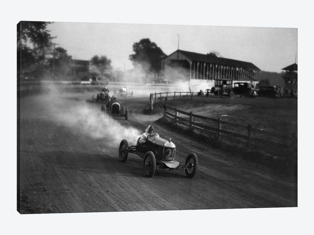 1930s Auto Race On Dirt Track With Cars Going Around Turn Kicking Up Dust by Vintage Images 1-piece Canvas Art Print