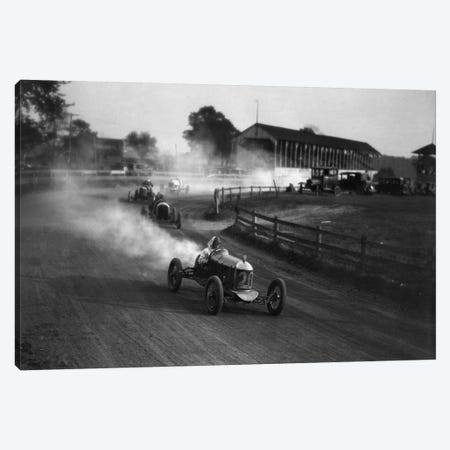 1930s Auto Race On Dirt Track With Cars Going Around Turn Kicking Up Dust Canvas Print #VTG83} by Vintage Images Canvas Wall Art