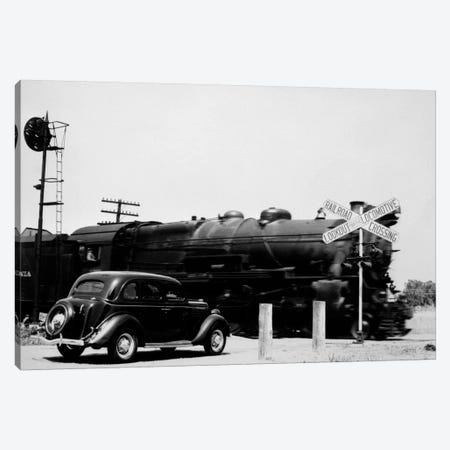 1930s Automobile Stopped At Railroad Grade Crossing With Steam Engine Speeding By Canvas Print #VTG84} by Vintage Images Canvas Print