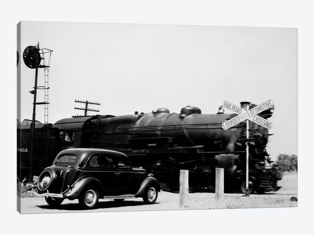 1930s Automobile Stopped At Railroad Grade Crossing With Steam Engine Speeding By by Vintage Images 1-piece Canvas Wall Art