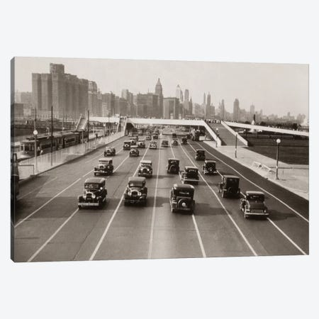 1930s Automobile Traffic Chicago Illinois USA Canvas Print #VTG85} by Vintage Images Canvas Print