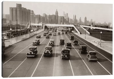 1930s Automobile Traffic Chicago Illinois USA Canvas Art Print
