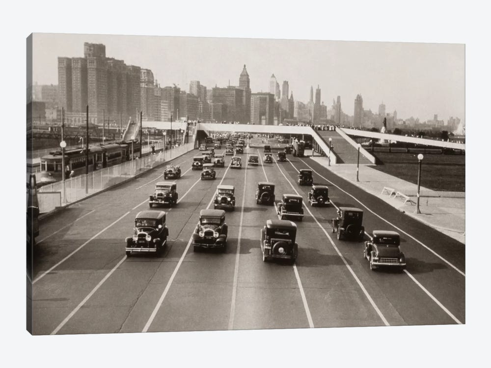 1930s Automobile Traffic Chicago Illinois USA by Vintage Images 1-piece Canvas Art Print