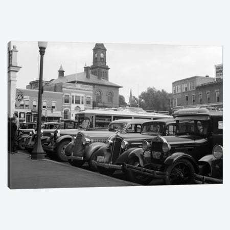 1930s Buses Cars Parked Small Town Square Claremont New Hampshire USA Canvas Print #VTG87} by Vintage Images Canvas Art Print