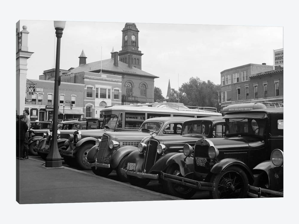 1930s Buses Cars Parked Small Town Square Claremont New Hampshire USA by Vintage Images 1-piece Canvas Art Print