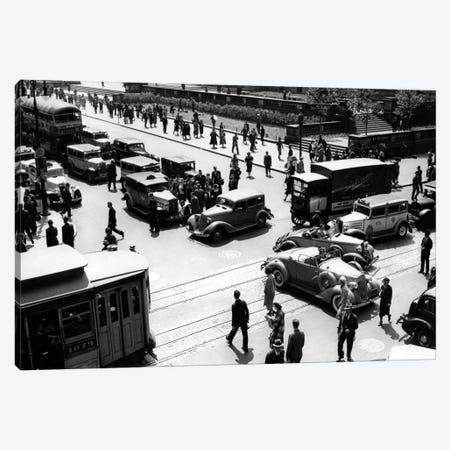 1930s Busy Intersection Fifth Avenue And 42nd Street With Traffic Jam & Many Pedestrians New York City USA Canvas Print #VTG88} by Vintage Images Canvas Art