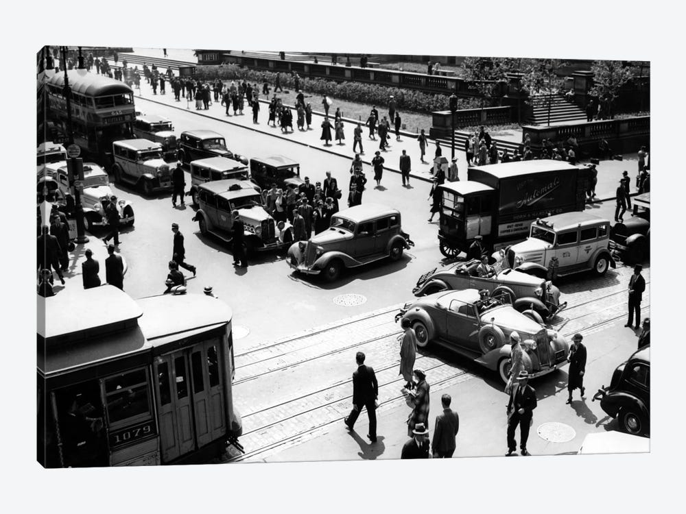 1930s Busy Intersection Fifth Avenue And 42nd Street With Traffic Jam & Many Pedestrians New York City USA by Vintage Images 1-piece Canvas Wall Art