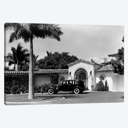 1930s Car In Circular Driveway Of Tropical Stucco Spanish Style Home In Sunset Islands Miami Beach Florida USA Canvas Print #VTG90} by Vintage Images Art Print